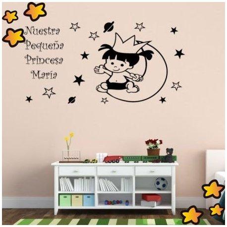 Vinilo la beb princesa en la luna v1014 for Vinilos bebe nino