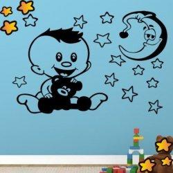 El Pequeño Bebé con su Osito y la Luna V1015