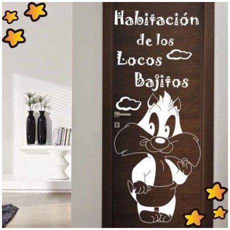 Vinilo puerta infantil habitaci n de locos bajitos v3512 for Vinilo puerta habitacion