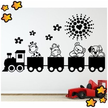 Vinilo tren de animalitos v2038 for Vinilos infantiles animales